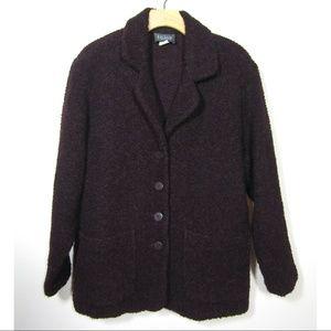 Eileen Fisher eggplant nubby wool coat jacket